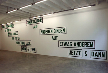 Laurence Weiner, THINGS THEMSELVES ON TOP OF OTHER THINGS ON TOP OF SOMETHING ELSE NOW AND THEN, 1999