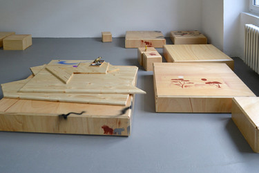Manfred Pernice Progress 3, 2012 wood, lacquer 11 parts, dimensions variable