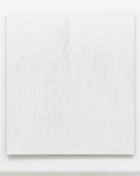 A canvas is primed and a second untreated canvas is stretched over the frame. Czerlitzki applies paint from the front and has it sink into the underlying canvas. The freshly applied paint bleeds through the linen and creates an unregulated echo onto the white primed canvas. The second canvas is removed afterwards. 