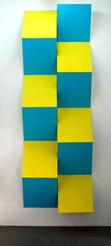 Daniel Buren, Relief 13. Wooden boxes and paint situated in situ, 2008