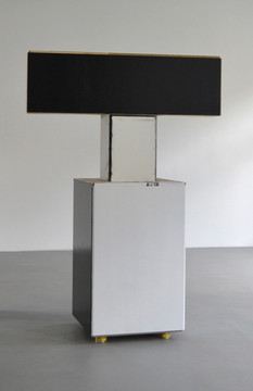 Manfred Pernice Der 4. Roland, 2012 wood, lacquer, paper 218 x 74 x 152 cm